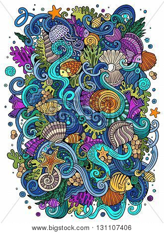 Cartoon hand-drawn doodles on the subject of Underwater life illustration. Colorful detailed, with lots of objects vector background