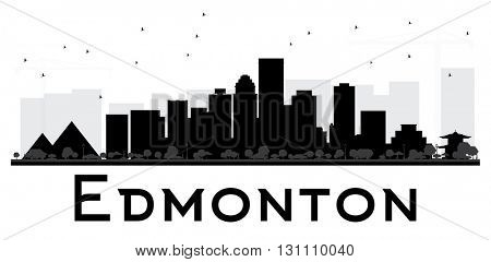 Edmonton City skyline black and white silhouette. Simple flat concept for tourism presentation, banner, placard or web site. Business travel concept. Isolated Edmonton