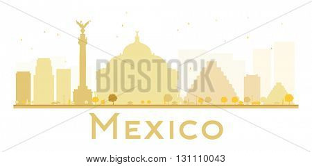 Mexico City skyline golden silhouette. Business travel concept. Mexico isolated on white background