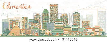 Abstract Edmonton Skyline with Color Buildings. Business Travel and Tourism Concept with Modern Buildings. Image for Presentation Banner Placard and Web Site.