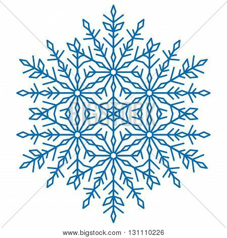 Round vector blue snowflake. Abstract winter ornament