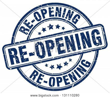 Re-opening Blue Grunge Round Vintage Rubber Stamp.re-opening Stamp.re-opening Round Stamp.re-opening