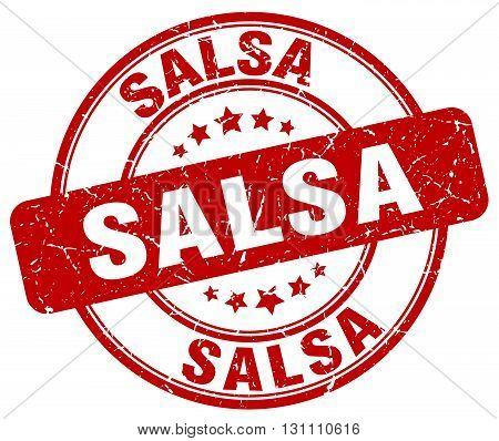 Salsa Red Grunge Round Vintage Rubber Stamp.salsa Stamp.salsa Round Stamp.salsa Grunge Stamp.salsa.s
