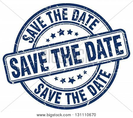 Save The Date Blue Grunge Round Vintage Rubber Stamp.save The Date Stamp.save The Date Round Stamp.s