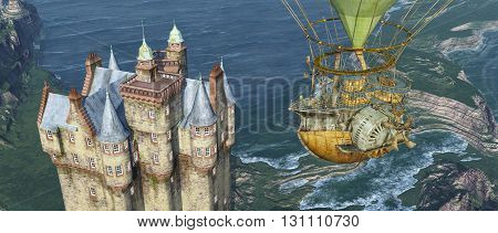 Computer generated 3D illustration with a Scottish castle by the sea and a fantasy hot air balloon