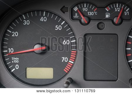 Tachometer engine water temperature indicator fuel tank indicator. Volkswagen Golf car.
