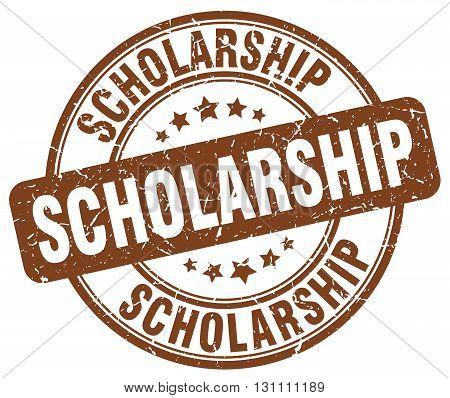 Scholarship Brown Grunge Round Vintage Rubber Stamp.scholarship Stamp.scholarship Round Stamp.schola