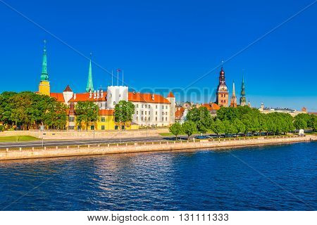 Old Town Of Riga And In Daugava River, Riga Castle, Riga Cathedral, Saint Peters Church. Riga, Latvi