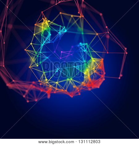Abstract molecular structure on dark blue background with rainbow colors. Molecules Concept of neurons and nervous system.