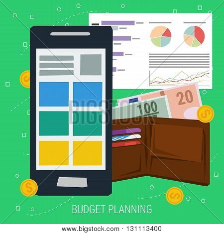 VECTOR CONCEPT BUDGET PLANNING. Smartphone with app for money planning, purse with money coins and sheet of paper with graphs in flat style. Web infographics