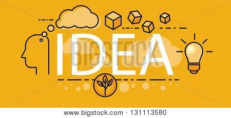 Idea business startup concept. Poster or a banner on the idea of human thought. Light bulb and plant sprout design flat style. Inspiration for startup, imagination and motivation. Vector illustration