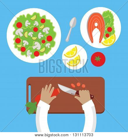 Prepare a meal top view design flat. Human hands with a knife cutting carrots on a wooden board for a salad. Bowl of salad with mushrooms and tasty dish of fish with lemon. Vector illustration