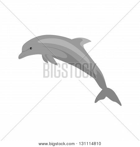 Monochrome dolphin isolated on white background. Mammals dolphin jumping with a tail and fins. Animals are creatures in the sea or the ocean painted in black isolated on white. Vector illustration