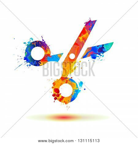 Scissors of watercolor splash paint. Vector icon