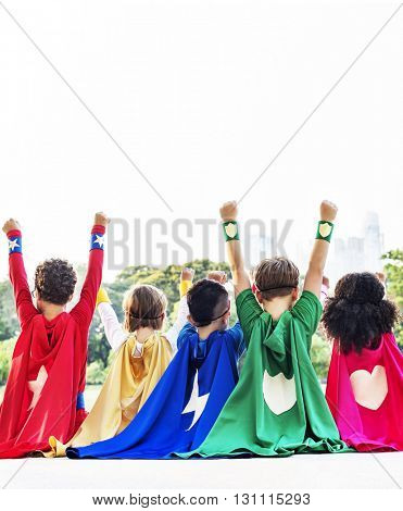 Superheroes Kids Friends Playing Togetherness Fun Concept