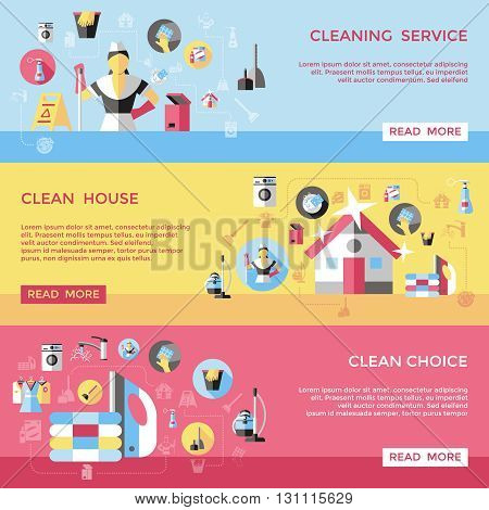 Professional cleaning horizontal banners set with shiny house washing tools laundry bin rag dustpan isolated vector illustration