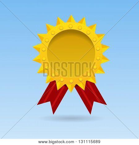 Golden Blank Medal Award With Red  Ribbon Vector Illustration Eps 10
