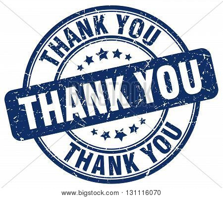 Thank You Blue Grunge Round Vintage Rubber Stamp.thank You Stamp.thank You Round Stamp.thank You Gru