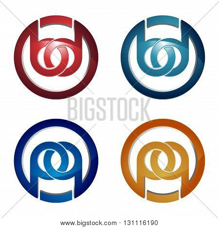 B and P Letter Circle Linked Chain