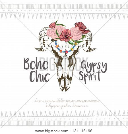 Vector fashion boho chick style goat skull with flower wreath. Traditional bohemian deoration. Poster for party restaurant or fashion events.