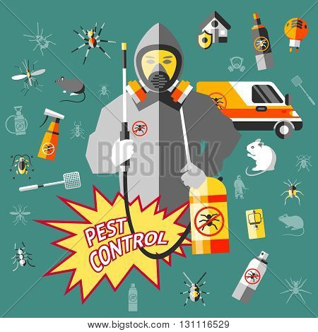 Worker of service for pest control in protective clothes with equipment on dark turquoise background vector illustration