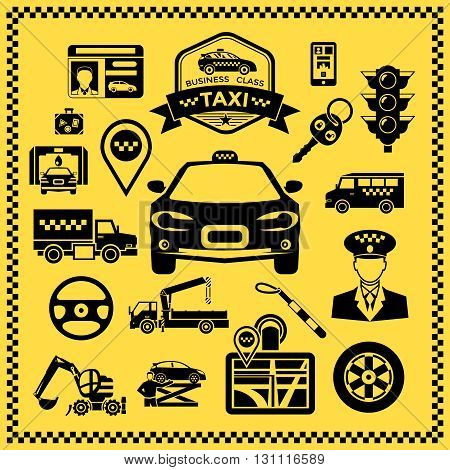 Taxi decorative icons set with vehicles machine elements checkerboard pattern along edge on yellow background vector illustration