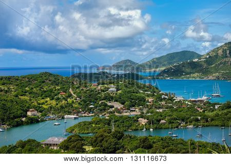 A view from Shirley Heights of English Harbour and the coast of the island of Antigua in the Caribbean.
