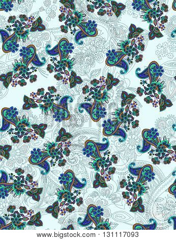 Traditional flower illustration seamless pattern. Eastern style traditional design
