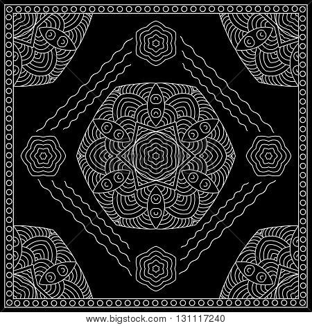 Black and white abstract bandana print with round abstract ornament. Kerchief square pattern design. Design for silk neck scarf kerchief hanky