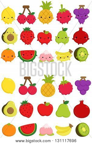 a vector set of cute fruit icon