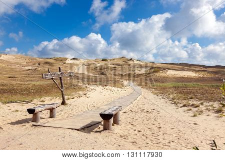 wooden walkway on the sand dunes Curonian Spit Lithuania