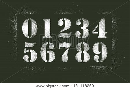 Vector illustration of white stencil spray numbers in old army style