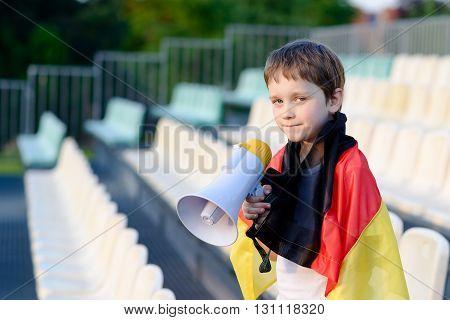 Germany Fan Screaming Through Megaphone On The Stadium