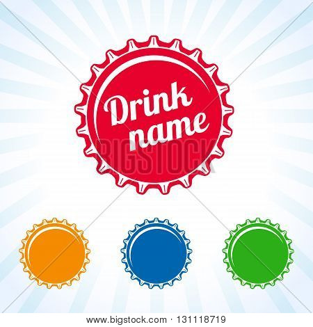 Colorful bottle caps vector design for juice, water, cola and soda drink. Bottle cover colored icon. Drink lid design