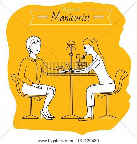 Profession manicurist. Woman doing manicure. Job. Beauty saloon.
