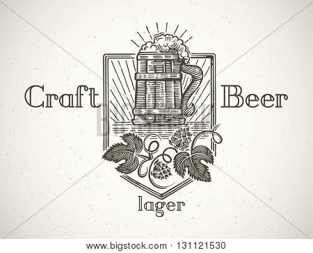 Mug of beer in a graphic style and elements of the branches of hops. Craft beer label.