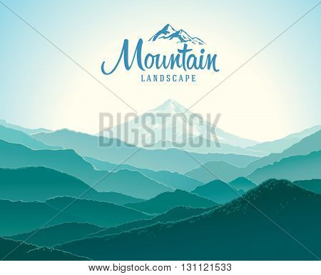 Mountain landscape. The silhouettes of the mountains against the dawn. And the elements of the logo.
