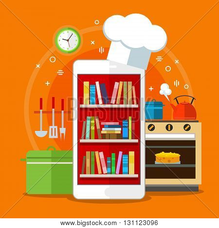 Online cookbooks. Concept of searching for recipes in web. Flat design