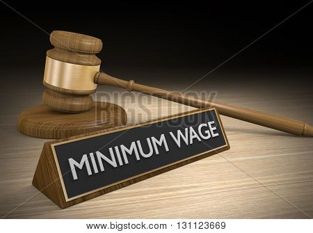 Worker minimum wage increase court law concept