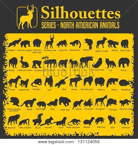 Silhouettes - Isolated North American animals. Vector set.