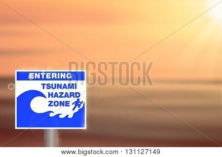 Tsunami Sign On Blur Sunset Beach