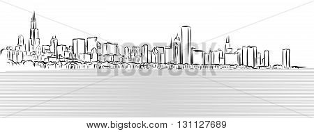 Chicago Outline Sketch With Michigan Lake In Foreground