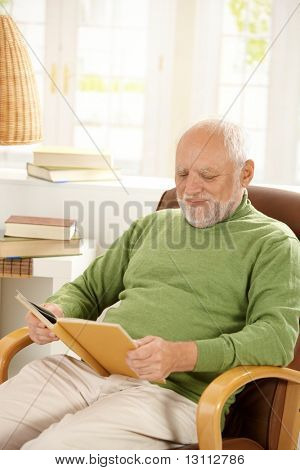 Older man sitting in armchair by window, relaxing at home, reading book, smiling.?