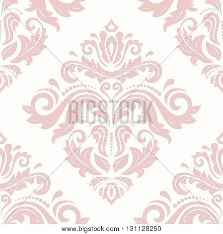 Oriental vector classic pink pattern. Seamless abstract background with repeating elements