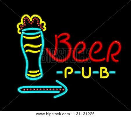 Neon sign beer pub on a black background. Bright neon signboard text beer pub glowing lines for night bars with a full glass of beer isolated on background flat style design. Vector illustration