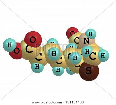 Biotin or B7 or coenzyme R is a water-soluble B-vitamin. 3d illustration