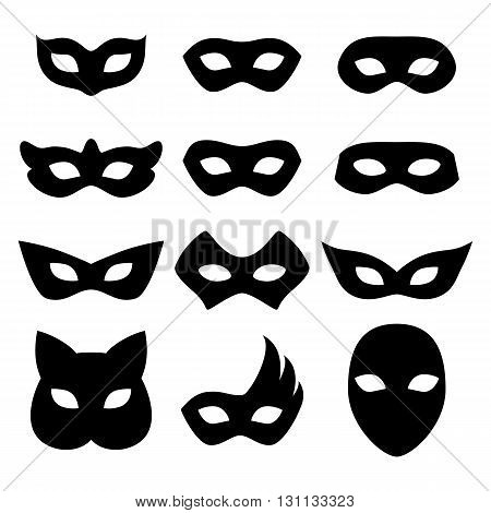 Blank carnival assorted masks icons templates set illustration. Party masquerade symbol. Black color, flat style.