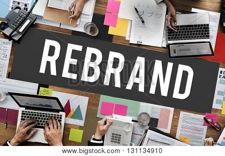 Rebrand Change Corporate Identity Marketing Concept
