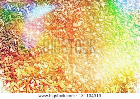 Wood chippings overlaid with colors for effect