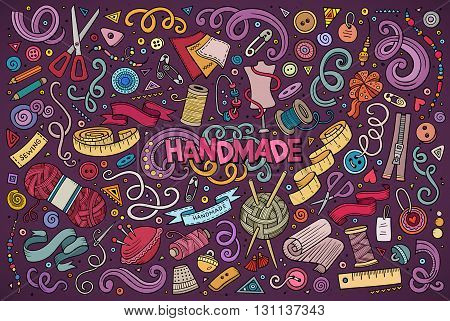 Colorful vector hand drawn doodle cartoon set of handmade objects and symbols